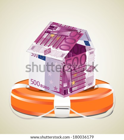 Euros House with Life Buoy on a white background.  - stock vector