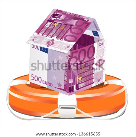 Euros House with Life Buoy on a white background. Insurance concept.�� - stock vector