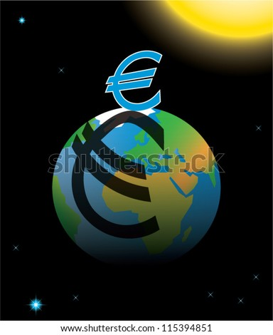 Eurozone crisis symbolized by euro sign casting shadow over planet Earth, vector illustration