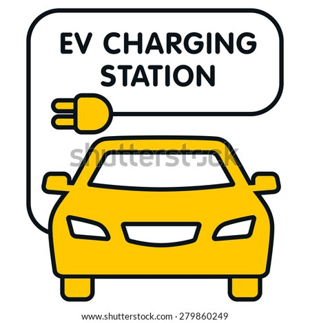 EV Charging Station signboard with the electro car illustration. Fully editable vector illustration. Perfect for signboards and plates. - stock vector