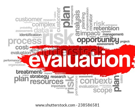 Evaluation concept in word tag cloud, vector background
