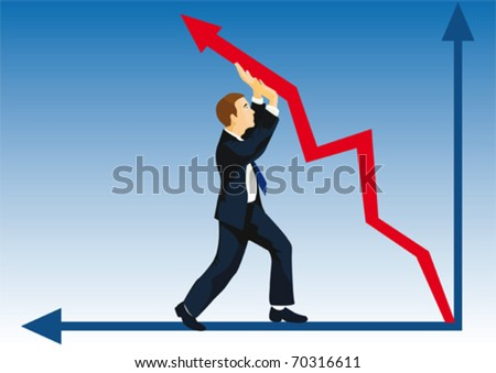 Even crisis won't prevent to lift the company quotation - stock vector