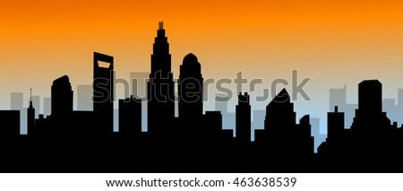 Evening Charlotte North Carolina Skyline-Vector