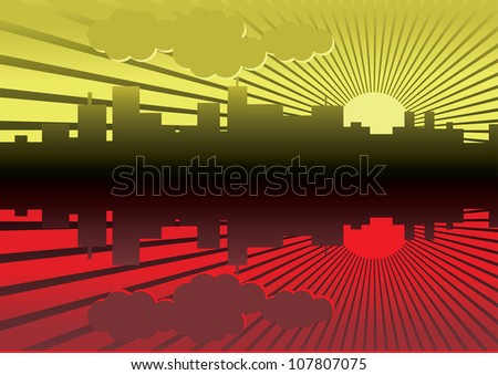 evening city panorama picture - illustration - stock vector