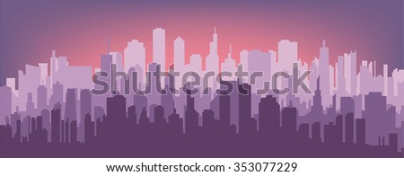 Evening city silhouette. Silhouette of the city at sunset. - stock vector