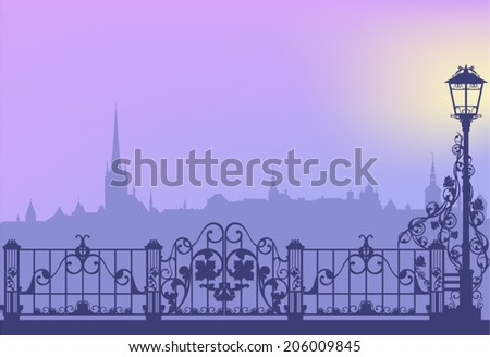 Evening city street with streetlight and wrought fence copy space vector background - stock vector