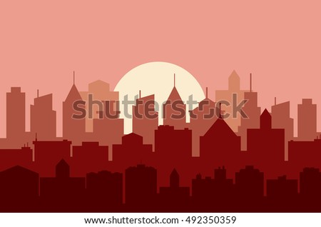 Evening cityscape . vector illustration in a flat design. City landscape at twilight. Sunset background. City skyline at sunset.