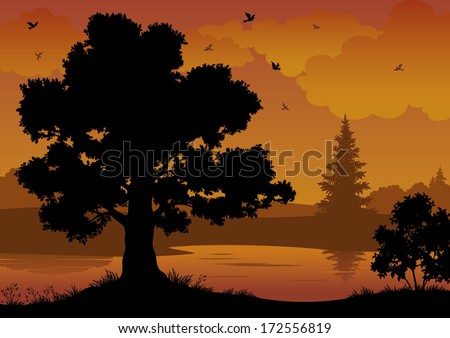 Evening contour black and orange landscape: trees, river and birds. Vector - stock vector