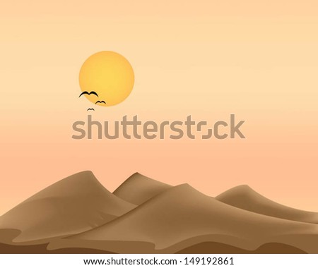 Evening desert  and the birds flying. - stock vector