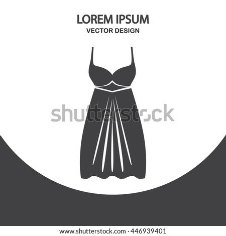 Evening dress icon on the background