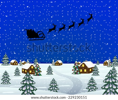 Evening landscape at Christmas - stock vector