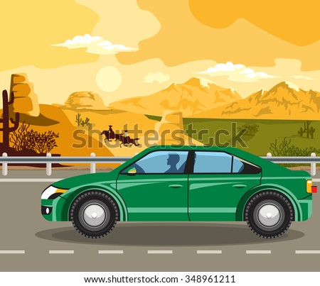 Evening landscape of the Wild West. Two cowboy and cars on the road. - stock vector