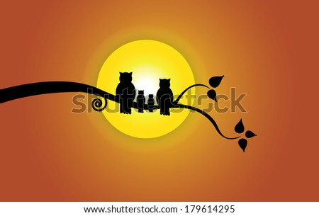 Evening sun, tree leaf & orange sky and owl family silhouette. Yellow morning sun with red orange gradient sky with family of owl sitting on a branch of a tree with leaves peace concept illustration - stock vector