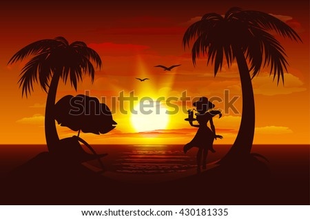 Evening sunset on sea. Sea, palm trees, silhouette of girl with drink. Illustration in vector format - stock vector