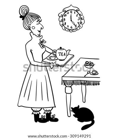 Evening tea drinking elderly lady comic vector illustration - stock vector