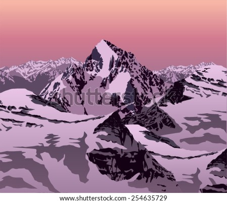evening vector winter landscape in the Alps - stock vector