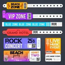 event entrance vector bracelets and stadium zone admission tickets templates isolated bracelet for entry and