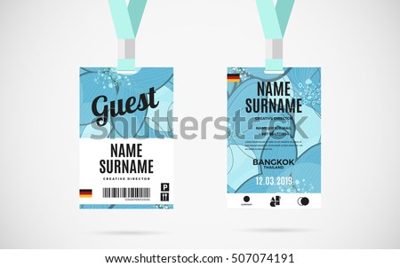 Event Volunteer Id Card Set Lanyard Stock Vector 507885067