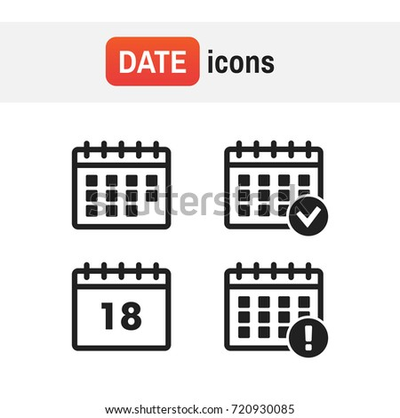 event icon annual. Vector Calendar Icons. Event add delete progress