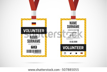 event name tag template - event staff id card set lanyard stock vector 507074416