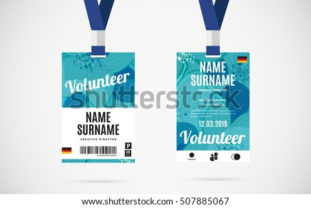 Event volunteer id card set lanyard stock vector 507885067 for Event name tag template