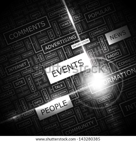 EVENTS. Word cloud concept illustration.  - stock vector