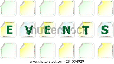 events word on stickers set vector - stock vector