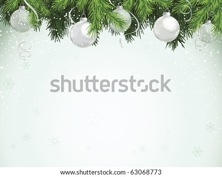 Evergreen and Silver Christmas Ornaments - stock vector
