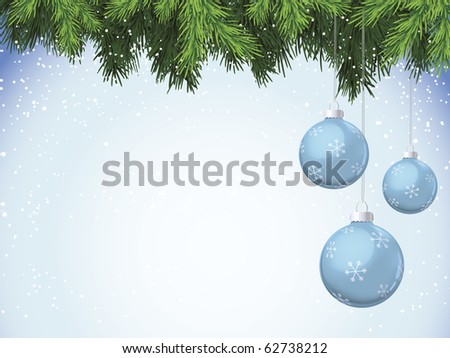 Evergreen branches with blue Christmas ornaments - stock vector