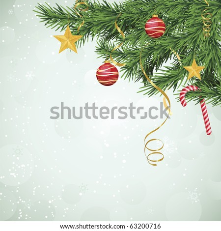 Evergreen branches with ornaments and candy cane hanging over bokeh-like background of soft green.