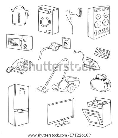 everyday household appliances vector set - stock vector