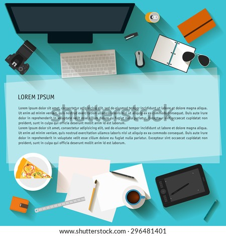 Everyday objects in trendy flat style with long shadow. Most popular things used in life of modern people isolated on stylish background for use in design for card, poster, banner, invitation cover - stock vector