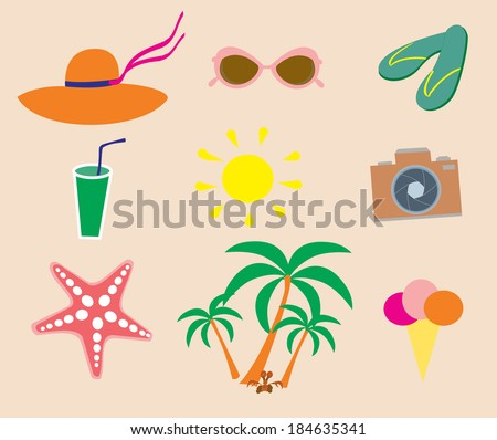 Everything for the beach - stock vector