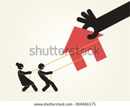 Eviction Foreclosure Mortgage Poverty Vector Design - stock vector