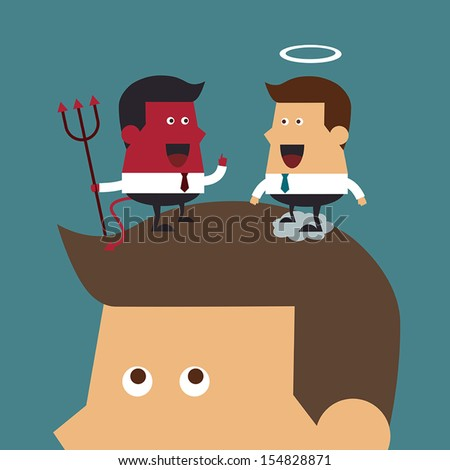 Evil and angel over head. - stock vector