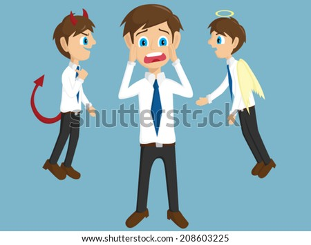Evil, Angel And Shock Businessman With Background - stock vector