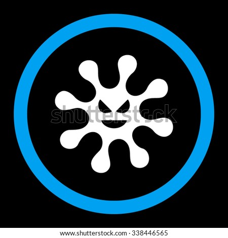 Evil Bacteria vector icon. Style is bicolor flat rounded symbol, blue and white colors, rounded angles, black background. - stock vector