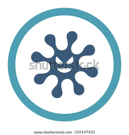 Evil Bacteria vector icon. Style is bicolor flat rounded symbol, cyan and blue colors, rounded angles, white background. - stock vector
