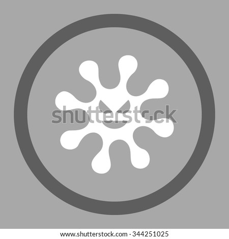 Evil Bacteria vector icon. Style is bicolor flat rounded symbol, dark gray and white colors, rounded angles, silver background. - stock vector