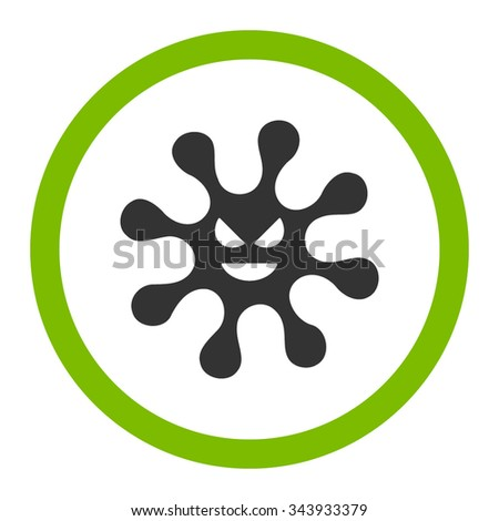 Evil Bacteria vector icon. Style is bicolor flat rounded symbol, eco green and gray colors, rounded angles, white background. - stock vector