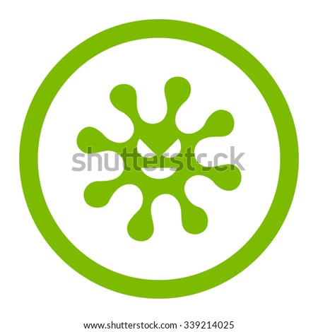 Evil Bacteria vector icon. Style is flat rounded symbol, eco green color, rounded angles, white background. - stock vector