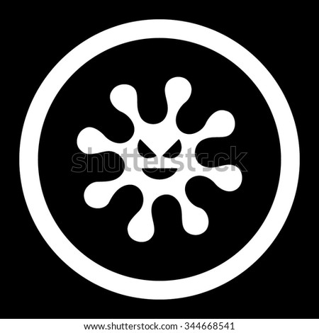 Evil Bacteria vector icon. Style is flat rounded symbol, white color, rounded angles, black background. - stock vector