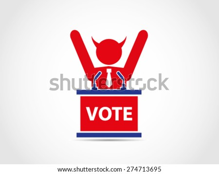 Evil Bad Corrupt UK Britain Politician Celebrate Win Elections - stock vector