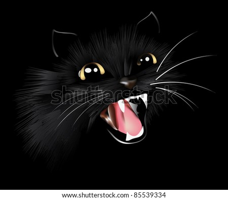 evil black cat, halloween background, vector illustration - stock vector