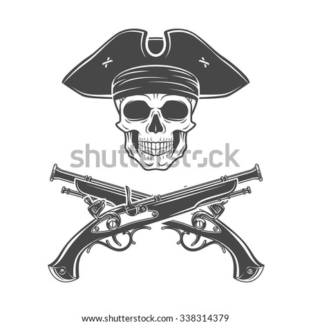 Evil captain skull in cocked hat vector. Jolly Roger logo template. death t-shirt design. Pistol insignia concept - stock vector