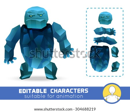 Evil cartoon ice rock monster editable elemental character. Neutral, negative or positive editable character. Suitable for animation, video and games. You can change color, position of body parts - stock vector