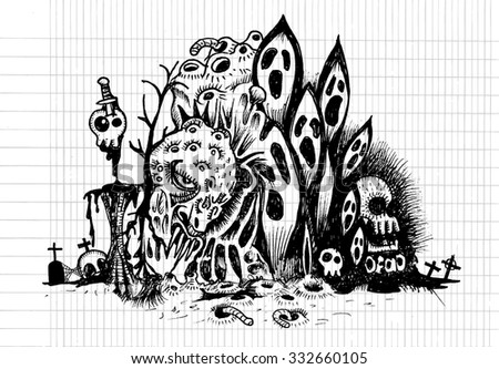 Evil drawing.Hand drawn monster with combination lines.Vector illustration.