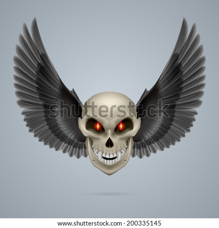 Evil looking mutant skull with black wings - stock vector