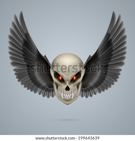 Evil looking mutant skull with long fangs and black wings - stock vector