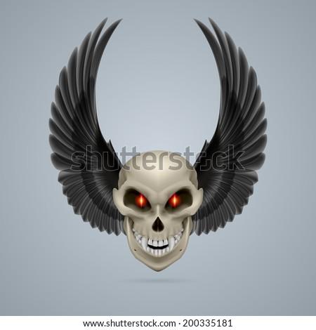 Evil looking mutant skull with raised black wings - stock vector